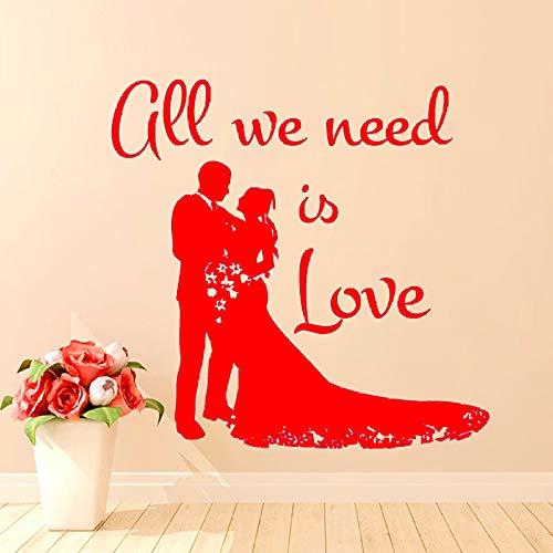 guijiumai Alles was wir brauchen ist Liebe Wandaufkleber Wohnkultur Hochzeit Braut und Bräutigam Wandtattoo DIY Art Murals Wohnzimmer Dekoration 2 47 cm x 43 cm -