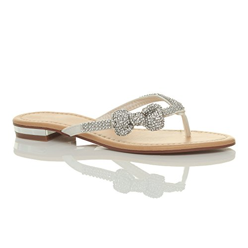 Donna piatto tacco basso strass nozze spiaggia estivi infradito sandali taglia Bianco