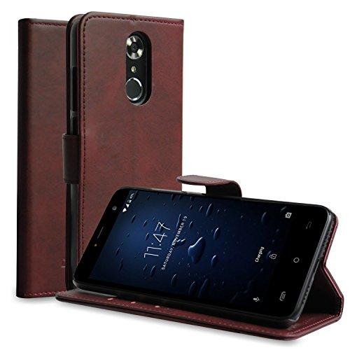CUBOT Note Plus Lederhülle, Premium PU Leder Flip Case Protective Cover Handy Tasche Schale mit Magnet Standfunktion Etui (Braun)