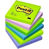 Post-it Notes - Cool Neon Rainbow - Neon Green, Neon Purple, Retro Green, Klippan Blue, Periwinckle Blue - 6 Pads Per Pack - 100 Sheets Per Pad - 76 mm x 76 mm