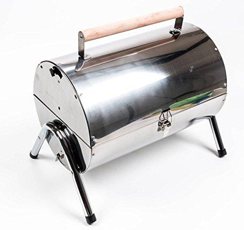 Gartengrill, Picknickgrill für Holzkohle, transportabel, Grillfäche 2-teilig, offen/geschlossen, Edelstahl, Gewicht 2,9 kg