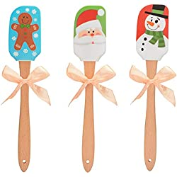 Hihey Christmas Silicone Spatula Ustensiles de Cuisine de Noël Spatule en Silicone Spatule de qualité supérieure pour la pâtisserie Ustensiles de Cuisine résistants à la Chaleur