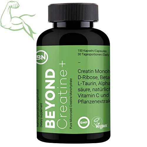Beyond Creatine für Leistungssportler, 99.92{a2a357569f9ce3a2d0ed2216e6520cd19c2c5973eab03bb96a6bea9bdd1a02aa} reines Kreatin Monohydrate mit D-Ribose, Beta-Alanin, L-Taurin & Piperin - Booster für Muskelaufbau, 150 Kapseln Sportnahrung, vegan