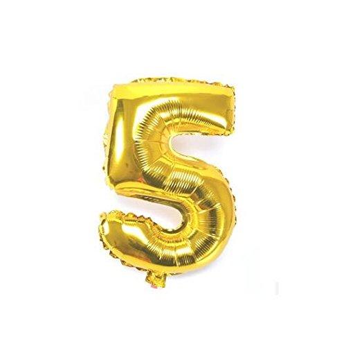 Globos de aluminio grueso de 81 cm con diseño de globos gigantes de helio para decoración de cumpleaños, bodas y aniversarios Gold 5 dorado