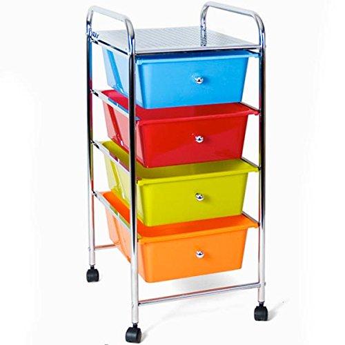 Bakaji carrello multiuso in acciaio cromato cassettiera 4 cassetti e 4 ruote carrellino organizer salvaspazio per bagno casa ufficio estetista lavoro (multicolor)