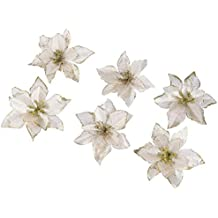 6 Piezas Purpurina Flor Artificial De Árbol De Navidad, Adornos Del Árbol De Navidad,