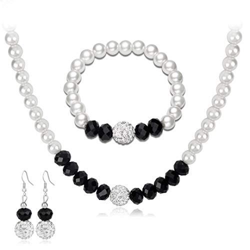 MYYQ 925 Sterling Silber Damen Kette mit Anhänger mit,Schwarz und Weiß Perlenkette Set Hochzeit Ohrringe Armband Halskette dreiteiligen Satz Umfang 50cm * 5cm für alle Gelegenheite (Weiße Schwarze Und Sets Hochzeit)