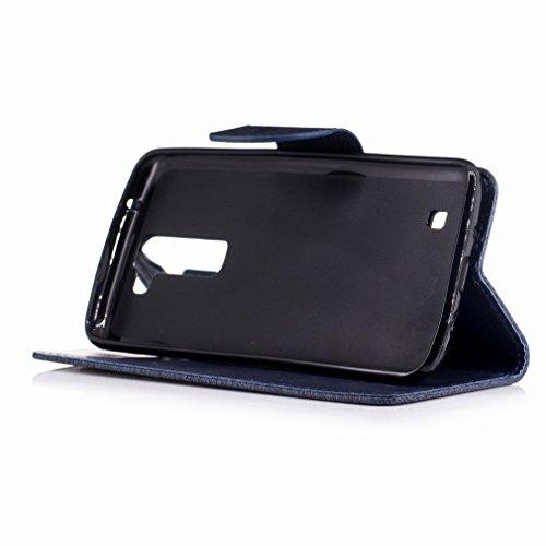 Yiizy LG K8 / LG Phoenix 2 / K350N Custodia Cover, Fiore Di Farfalla Design Sottile Flip Portafoglio PU Pelle Cuoio Copertura Shell Case Slot Schede Cavalletto Stile Libro Bumper Protettivo Borsa (Por Grigio