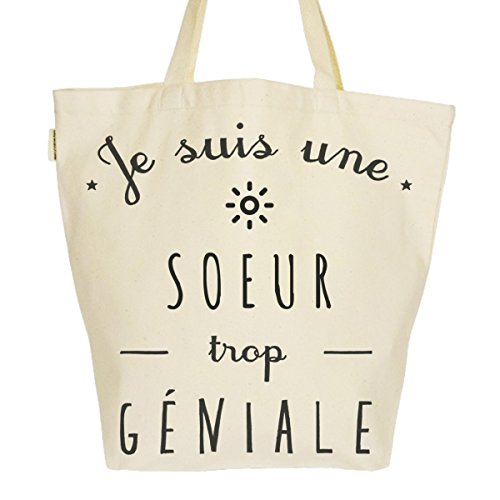 Grand Sac Cabas Fourre-tout Imprimé Toile Bio 37x45x20cm Tote Bag XL - Je suis une Soeur trop géniale