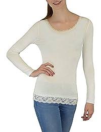 S&LU tolles elegantes Damen-Langarmshirt mit dezenter Spitzenborte in vielen schönen Farben