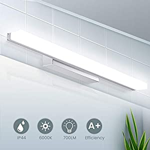 LED Spiegelleuchte 40cm, IP44 Wasserdichte Badleuchte für Wandbeleuchtung und Badzimmer, Schminklicht Wandleuchte Badlampe, 6000K Weißlicht, 8W 700lm 220V SOLMORE