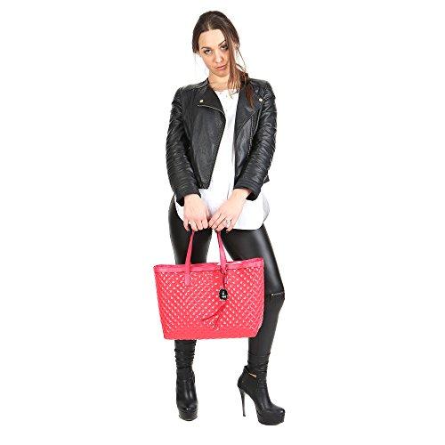 Trussardi Jeans Borsa a Mano da Donna Sintetica con rifiniture in pelle - Linea Shopping 66B400K124 Corallo