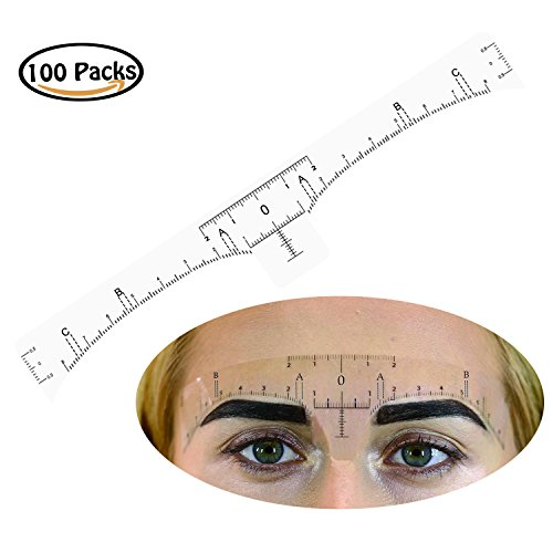 Rancco® selbstklebender Augenbrauen-Lineal-Aufkleber, 100 Stück Augenbrauen-Maßlineal Vorlage Schablone Aufkleber Tattoo Shaper Measure Tool