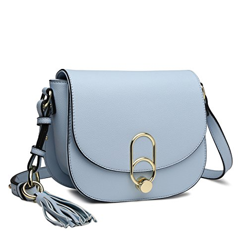 Miss Lulu Women Cross body Bag Fashion Tassel Decoration Zipper Handbags Flap with Lock Closure Shoulder Bag (Blue)