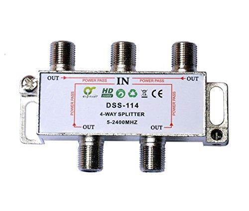 Digisat Digitaler 4-fach SAT Antennen Kabel TV BK Verteiler Splitter HDTV 4fach F Verteiler Fernsehen Fernseher Full HD Switch 4er 4-fach Weiche Umschalter F-Stecker Stammleitungsverteiler