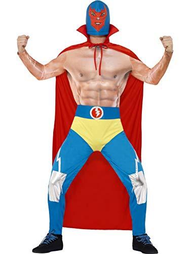 Halloweenia - Herren Männer mexikanischer Wrestler Wrestling Kämpfer Kostüm mit Umhang, Leggings, integrierter Slip und Maske, perfekt für Karneval, Fasching und Fastnacht, L, Blau