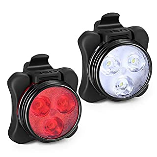 Akale Rechargeable LED Bike Lights Set - Headlight Taillight Combinations LED Bicycle Light Set (650mah Lithium Battery, 4 Light Mode Options, 2 USB cables)