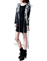 TOOGOO(R) Fashion Women's Transparent EVA Raincoat Outdoor Travel Waterproof Rain Coat Blue 130cm