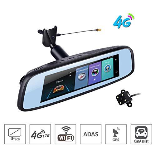 Car DVR Kamera-7,84 Zoll 4G Berührungsempfindlicher Bildschirm Clever Android Rearview Mirror GPS Bluetooth WiFi ADAS Radar Car Dashboard Kamera Doppellinse Radar-bildschirm