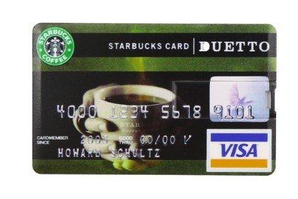 Hi-tech-global, chiave usb a forma di carta di credito (16 gb), usb 2.0, flash drive starbucks card