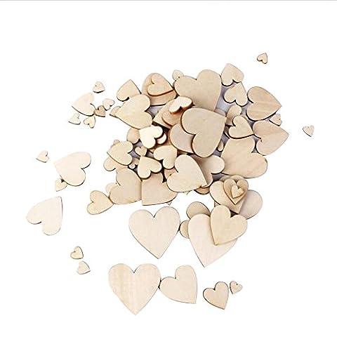 Skitic 50 Stück Holzherzen Verzierungen Unlackiert Natürliche Pfirsich Herz Holz Scheiben DIY Handwerk Embellishments für Hochzeit-Weihnachtsschmuck (Holz Farbe,