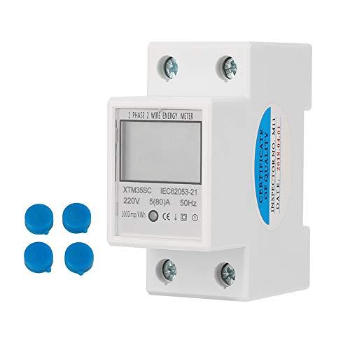 KWh-Schienenzähler - 220V 5 (80) Ein digitaler 1-phasiger 2-poliger 2P-DIN-Schienen-Stromzähler, elektronischer KWh-Zähler Gb-meter