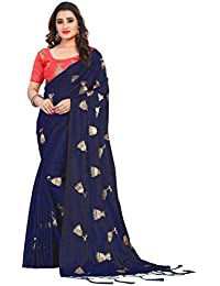 6beb718a6b Vastrang Women's Paper Silk Embroidered Saree with Tassels & Blouse, ...