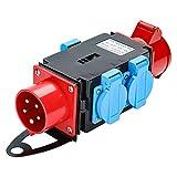 WIS Kraftstrom Starkstrom Verteiler 16 A CEE 400V +3 x 230V Schutzkontaktsteckdosen Industrie Stromverteiler