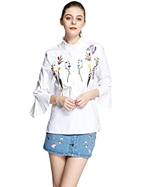 Weiforcarry Mujeres Sueltas de algodón 1/2 Mangas Blusa bordada camisa blanca