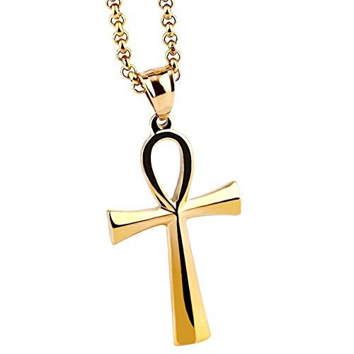 AIUIN 1 Stück Halskette aus Titan Anhänger Ägyptischer Kreuz von Anka Collars Schmuck für Damen (mit Einem Schmuckbeutel), Gold