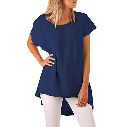 Innerternet Frauen Sommer Lange T-Shirts Rundhals Kurzarm Lässige Baumwolle Leinen Lose Tops T-Shirt Bluse