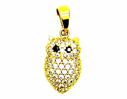 Pegaso gioielli - ciondolo oro giallo 18kt gufo con zirconi bianchi - pendente gufetto donna ragazza bambina