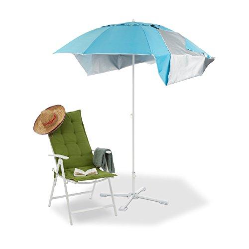 Relaxdays 10023310 tenda da spiaggia, ombrellone mare con custodia, protezione solare uv 50, hxd: 210 x 180 cm, blu