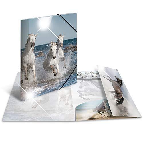 HERMA 19329 Sammelmappe DIN A4 Tiere Pferde aus stabilem Kunststoff mit Hochglanz-Effekt und bedruckten Innenklappen, Gummizugmappe, Eckspanner-Mappe, 1 Zeichenmappe für Kinder (Sammelmappe Für A4)