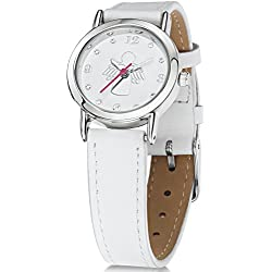 Jo for Girls Guardian Angel Girl's Analogue Quartz Watch with White Leather Strap