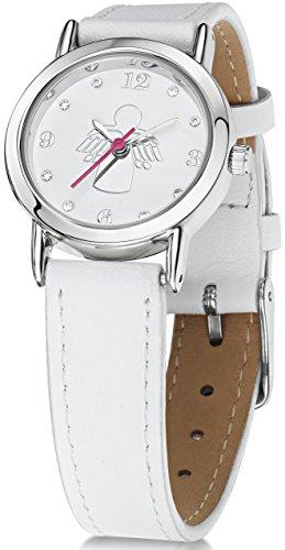 Jo for Girls Mädchen-Armbanduhr Analog Leder Weiß JW019 (Leder Weiss Kid)