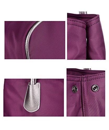 Yvonnelee Wasserabweisende Handtasche Henkeltasche Umhängetasche für Damen und Frauen aus Oxford Schulterriemen Verstellbar und Abnehmbar - Lila Violett
