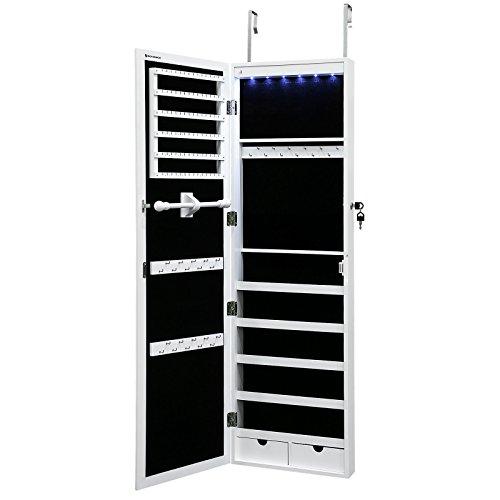 Songmics Schmuckschrank Spiegelschrank Türmontage/Wandmontage abschließbar mit LED Beleuchtung 120 cm hoch JBC93W