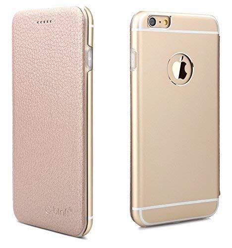 Leder Hülle kompatibel mit iPhone 7 Plus Schutzhülle Flip Cover Case mit Aluminium Back in Rose Gold Flip Leder Hard Case