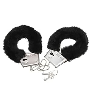 Black Furry Cuffs Working Metal Handcuffs (Black Handcuffs)