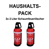 2x Fettbrandlöscher ERGO für den Haushalt ninux ABF Feuerlöscher Schaum 2 Liter mit Halterung, Manometer und kompakt ergonomischem Ventil