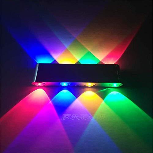 Wisdom Kronleuchter Neon Led Wandleuchte Moderne Zeitgenössische Rechteck Form Innen auf und ab Wandleuchten für Wohnzimmer Schlafzimmer Bar Flur Korridor Porch Bar Club 4 Wandscheinwerfer 6W, Blau