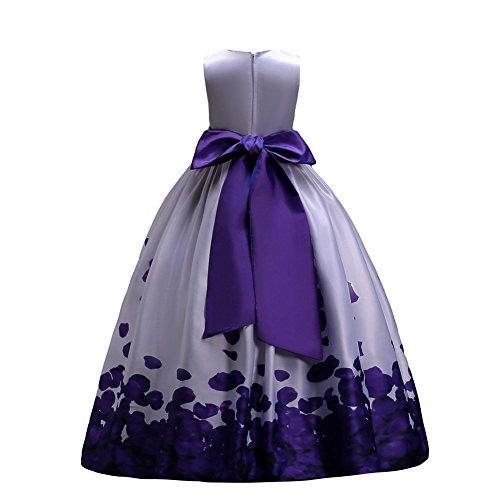 1637d730a3be8 Fiore ragazze estivo abito principessa pageant vestito da cerimonia per la damigella  floreale matrimonio carnevale viola