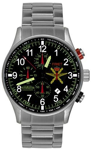 Astroavia Herren-Armbanduhr Chronograph massives Edelstahl Armband militär FN37S