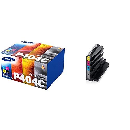 Samsung CLT-P404C SU365A Cartucce Toner Originali, per le Stampanti Laserjet Serie Xpress C430, C480 e C483, 4.500 Pagine, Multipack da 4, Nero, Ciano/Giallo/Magenta & CLT-W406 Cartuccia laser