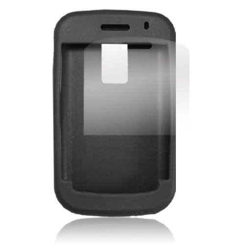 Silicone Skin Case Black Screen Protector voor de BB 9000 9000 Screen Protector