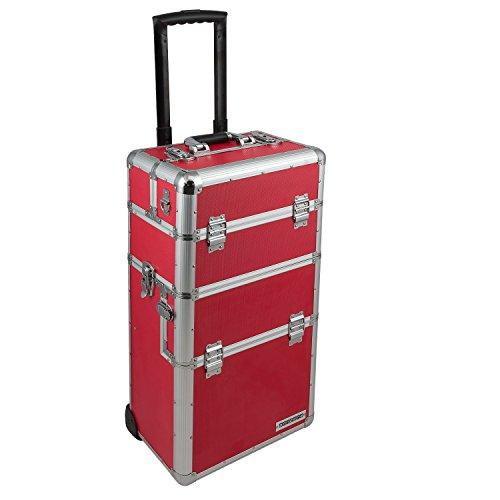 Alu Trolley abnehmbarer Koffer Alukoffer Pilotenkoffer variable Fächer Rot