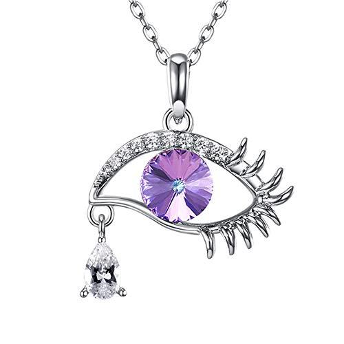 JUZIWEI Kette Damen mädchen Halskette mit Anhänger 925 Sterling Silber mit Mode Magisches Auge Crystal Tear Drop Wimpern Swarovski Allergikerfrei Geschenk für Frauen Freundin,Purple (Augen Drops Tear)