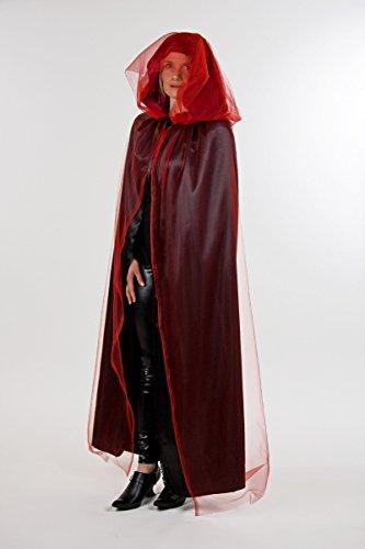 schwarzer Umhang mit Kapuze & rotem Tüll zu Halloween Vampir Kostüm ()