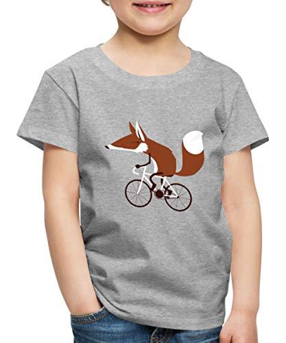 Spreadshirt Fuchs auf Fahrrad Cycling Fox Kinder Premium T-Shirt, 98/104 (2 Jahre), Grau Meliert
